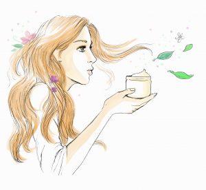 Femme souffle des fleurs